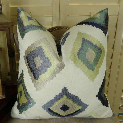 Native Trail Dew 20 in. x 36 in. King White, Navy and Lime Hypoallergenic Down Alternative Double Sided Throw Pillow