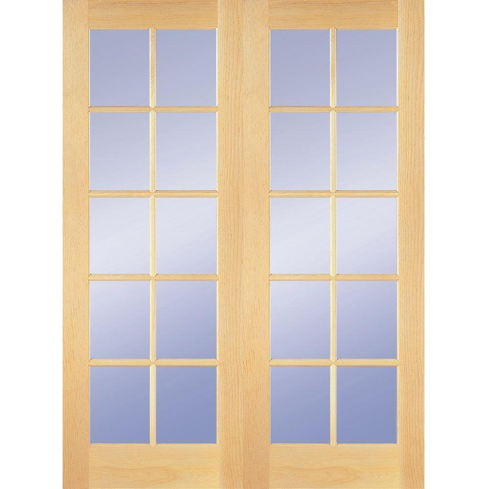 Builder's Choice 48 In. X 80 In. 10-Lite Clear Wood Pine Prehung Interior French Door-HDCP151040
