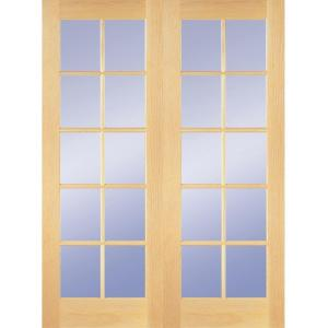 10 Lite Clear Wood Pine Prehung Interior French Door HDCP151040   The Home  Depot