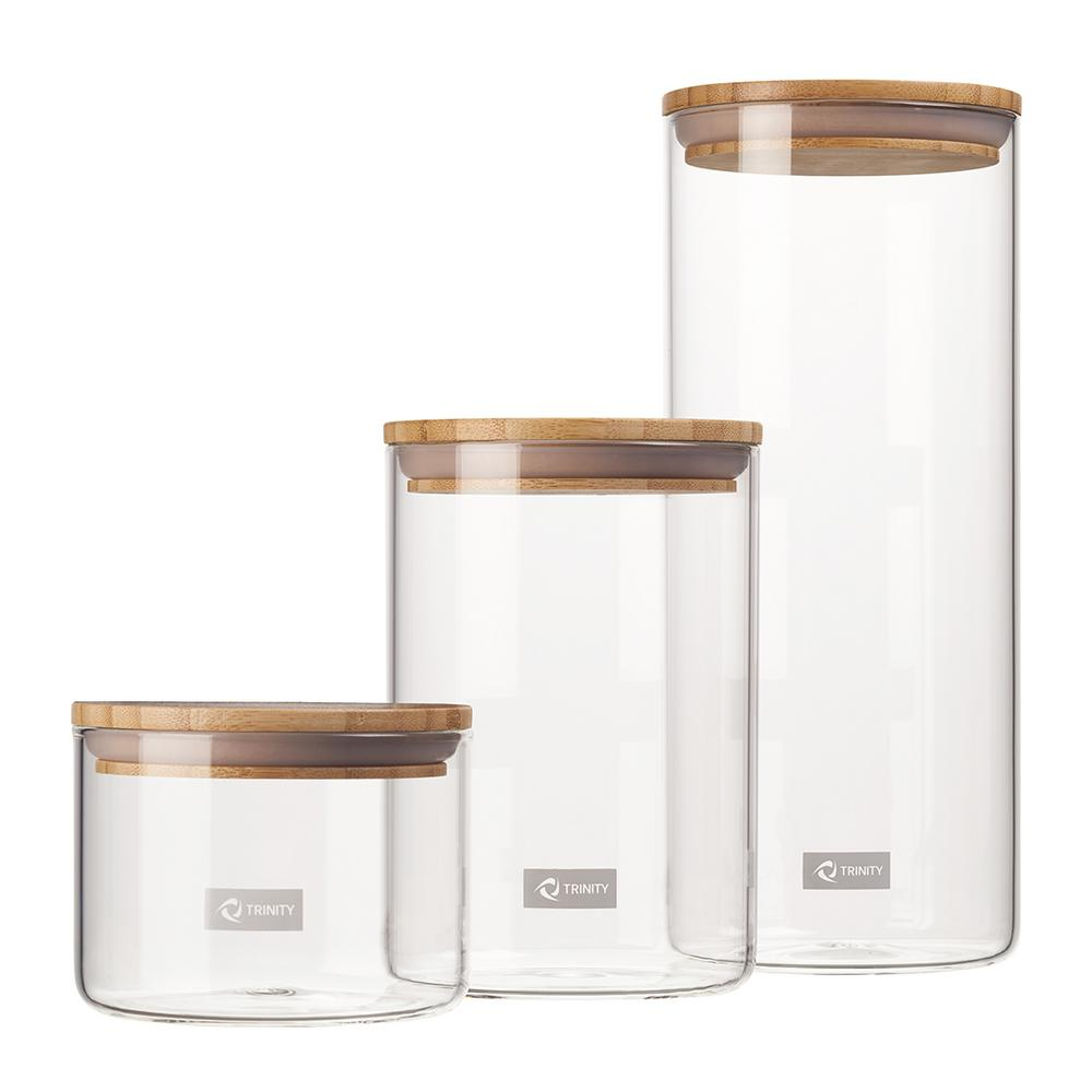 TRINITY Trinity 3-Piece Glass and Bamboo Canister Set - A, Clear