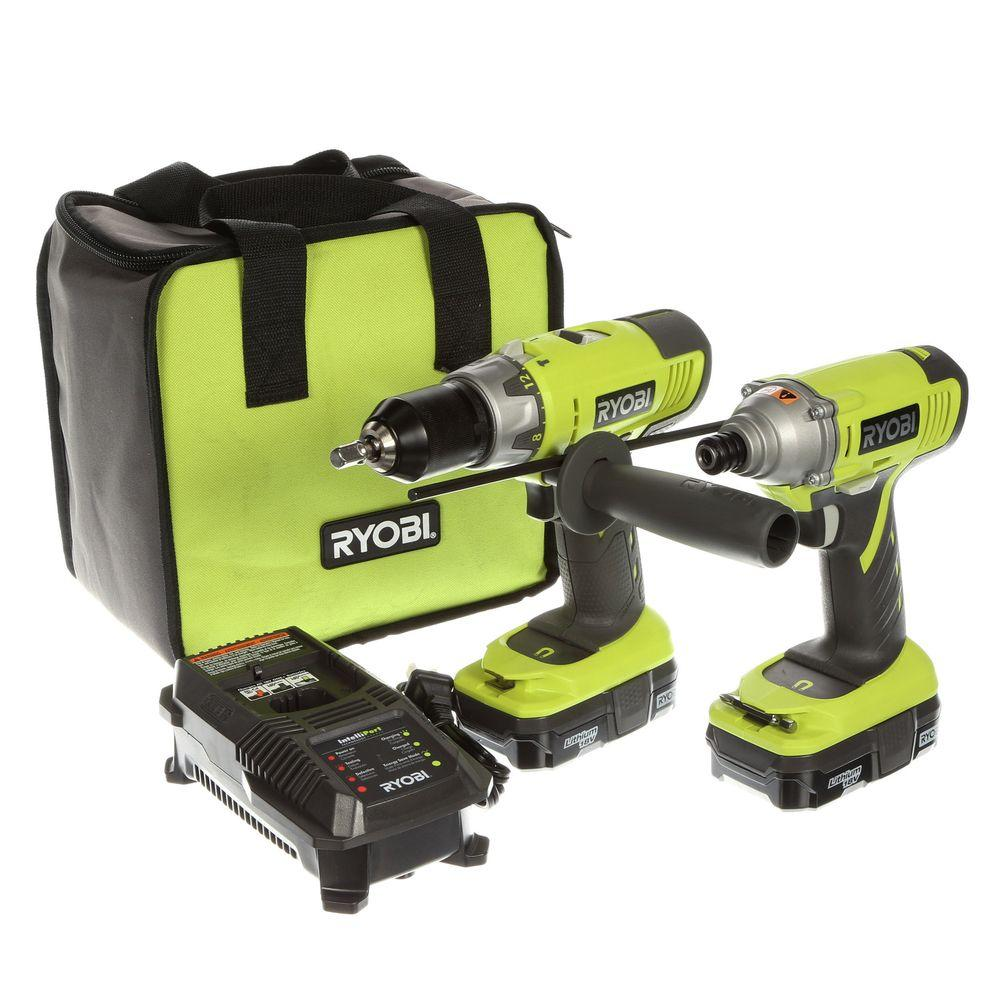 ryobi 18 volt one lithium ion hammer drill and impact driver kit p898 the home depot. Black Bedroom Furniture Sets. Home Design Ideas