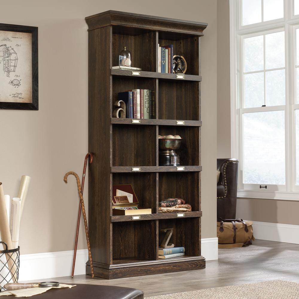 75 in. Iron Oak Faux Wood 10-shelf Standard Bookcase with Cubes