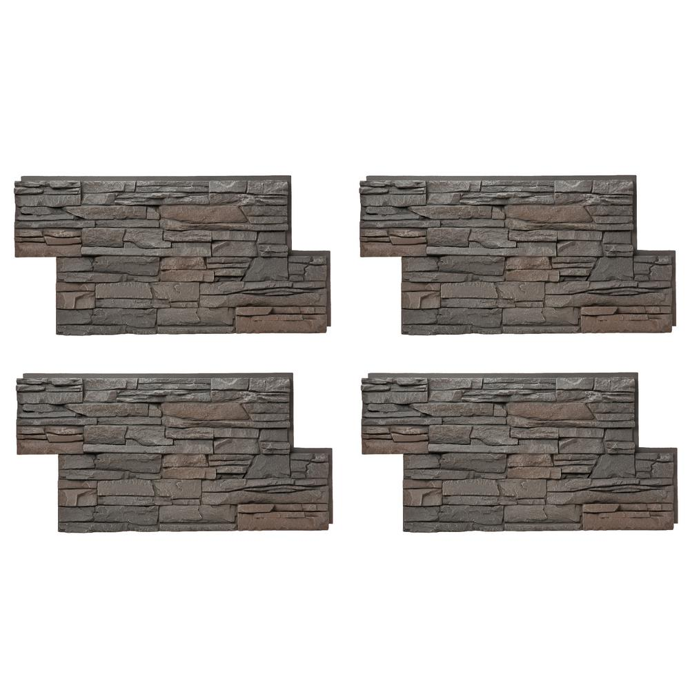 Stacked Stone 24 in. x 42 in. Coffee Faux Stone Siding