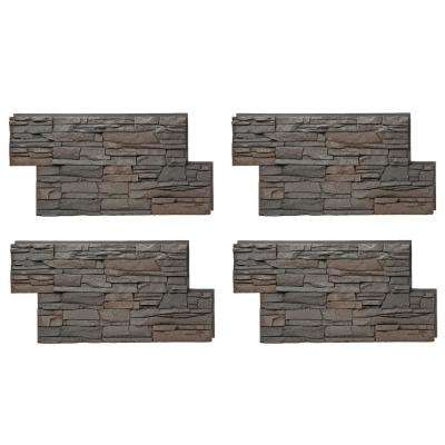 Stacked Stone 24 in. x 42 in. Coffee Faux Stone Siding Panel (4-Pack)