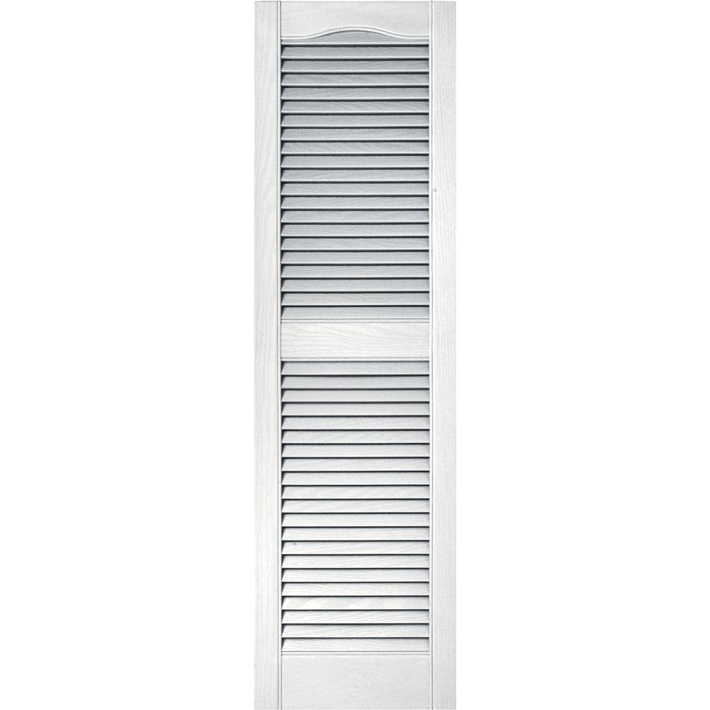 Builders Edge 15 in. x 52 in. Louvered Vinyl Exterior Shutters Pair in #001 White