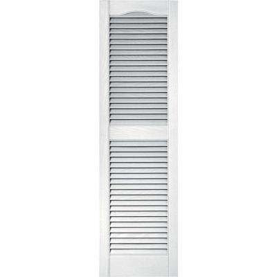15 in. x 52 in. Louvered Vinyl Exterior Shutters Pair in #001 White