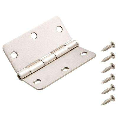 3 in. x 1/4 in. Satin Nickel Radius Door Hinge