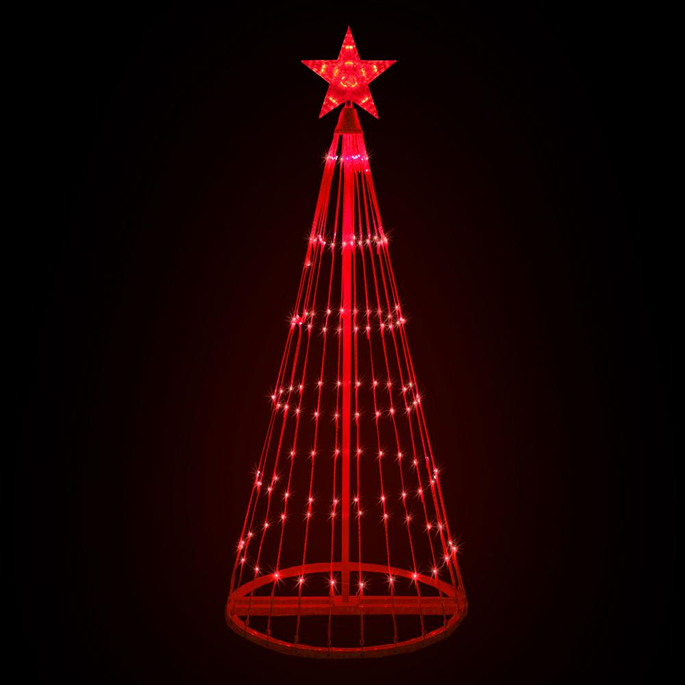 Kringle Traditions 144 in. LED Red Animated Lightshow Cone Tree with 442 Lights and Star