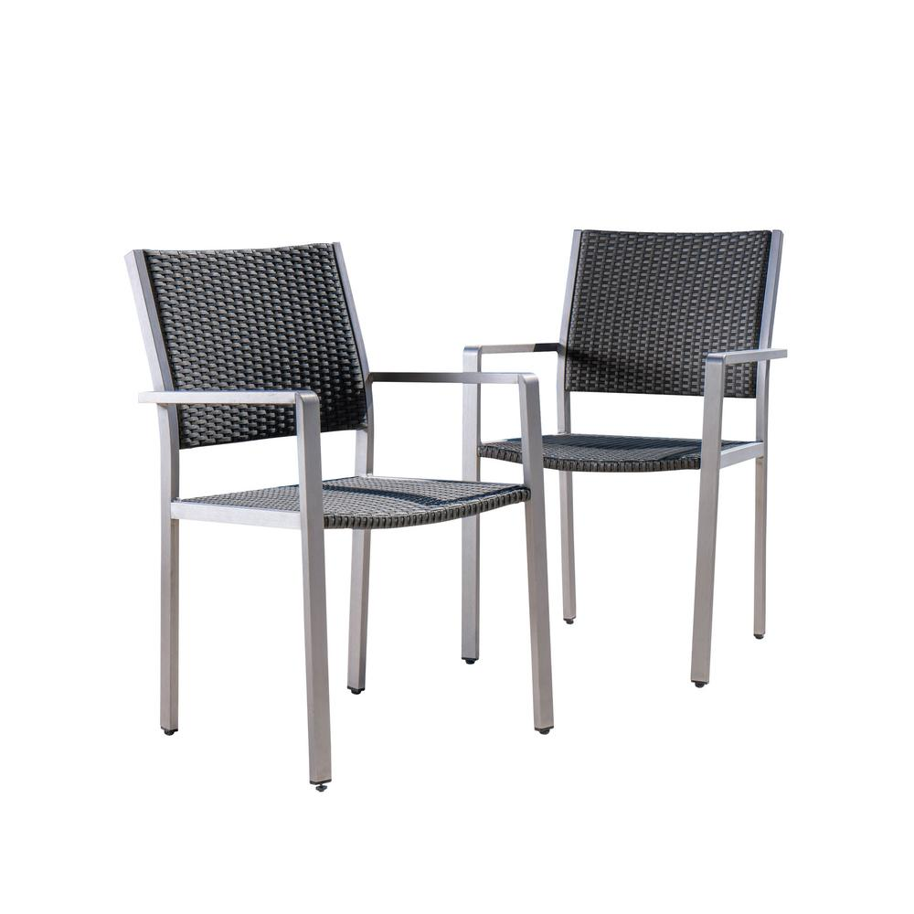 Le House Athena Silver Aluminum Outdoor Dining Chair In Grey 2 Pack