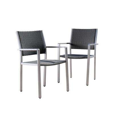 Athena Silver Aluminum Outdoor Dining Chair in Grey (2-Pack)