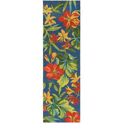 Covington Tropical Orchid Azure-Forest Green-Red 2 ft. 6 in. x 8 ft. 6 in. Indoor/Outdoor Runner Rug
