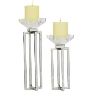 2-Piece Silver Modern Glass and Stainless Steel Candle Holders
