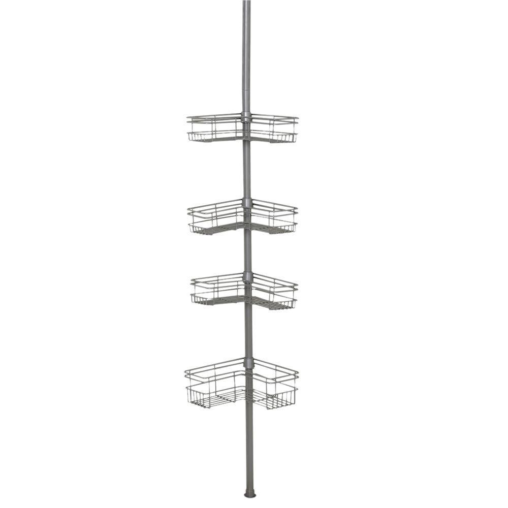 Tension Mount Steel Shower Pole Caddy in Satin Nickel