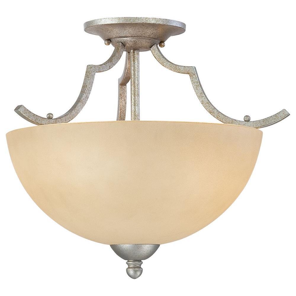 Triton 2-Light Moonlight Silver Ceiling Semi-Flush Mount Light