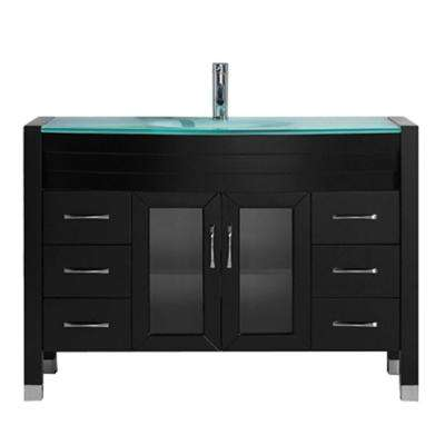 Ava 47 in. W Bath Vanity in Espresso with Glass Vanity Top in Aqua Tempered Glass with Round Basin and Faucet
