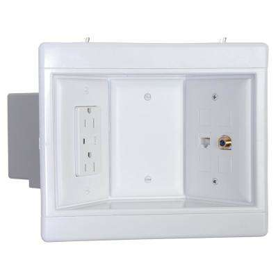 3-Gang Recessed TV Media Box Kit with Surge Suppressing Outlet and Low Voltage Inserts, White