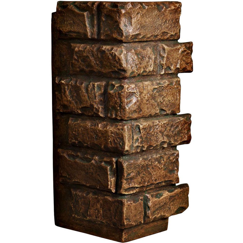 1-1/2 in. x 12-1/2 in. x 25 in. Mocha Urethane Cut Coarse Random Rock Outer Corner Wall Panel