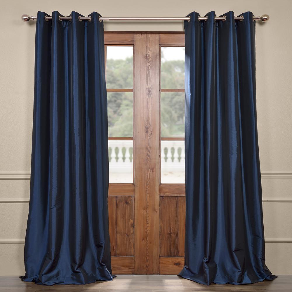 Exclusive Fabrics & Furnishings Navy Blue Grommet Blackout Faux Silk Taffeta Curtain - 50 in. W x 120 in. L