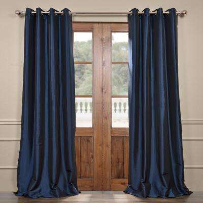 Navy Blue Grommet Blackout Faux Silk Taffeta Curtain - 50 in. W x 120 in. L