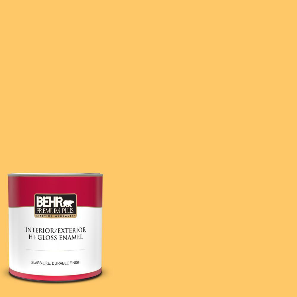1 Qt Home Decorators Collection Hdc Sp16 05 Daffodil Hi Gloss Enamel Interior Exterior Paint 840004 The Home Depot