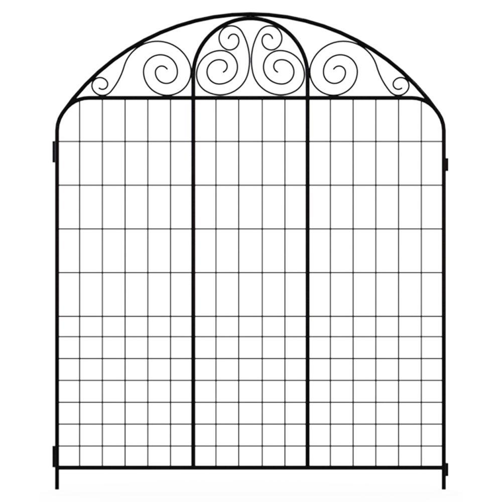 Hampton Bay Rockdale 3.66 ft. x 3 ft. Black Steel Fence Panel-860220 ...