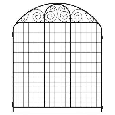 Summer Scroll 3.66 ft. x 3 ft. Black Steel Fence Panel