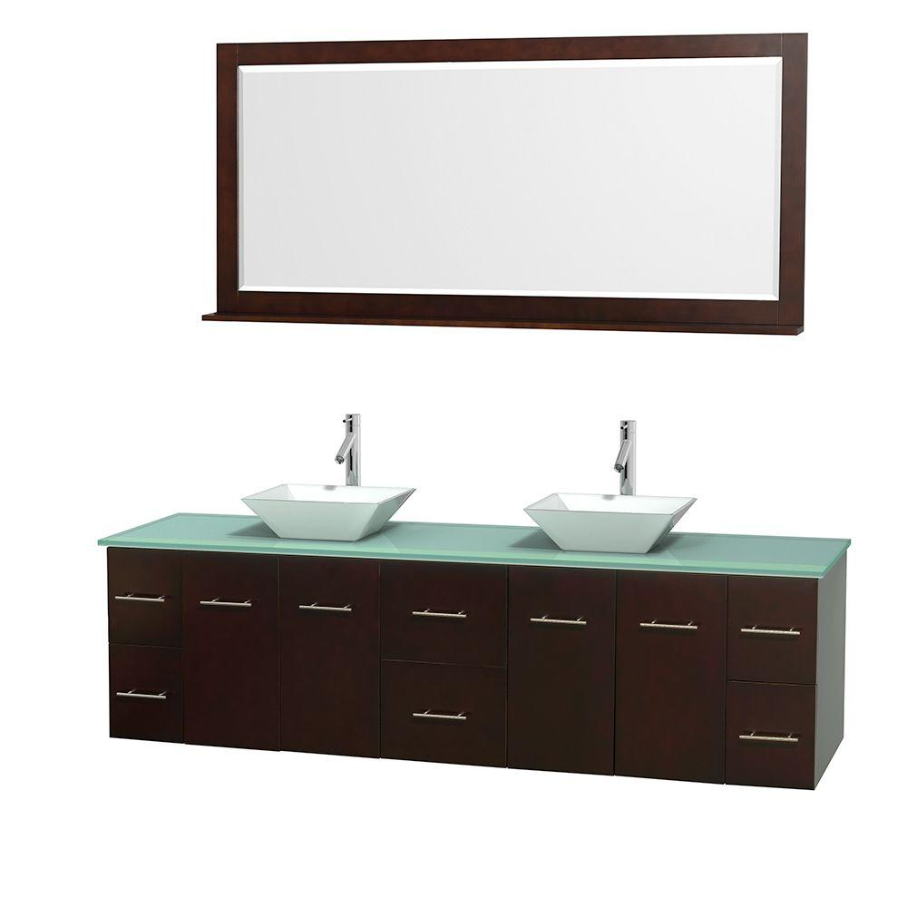 Wyndham Collection Centra 80 in. Double Vanity in Espresso with Glass Vanity Top in Green, Porcelain Sinks and 70 in. Mirror