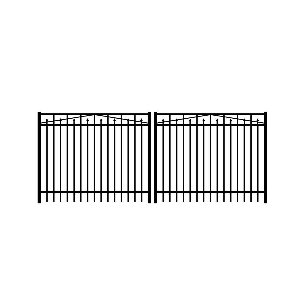 Adams 12 ft. W x 4 ft. H Black Aluminum 3-Rail Double Drive Fence Gate