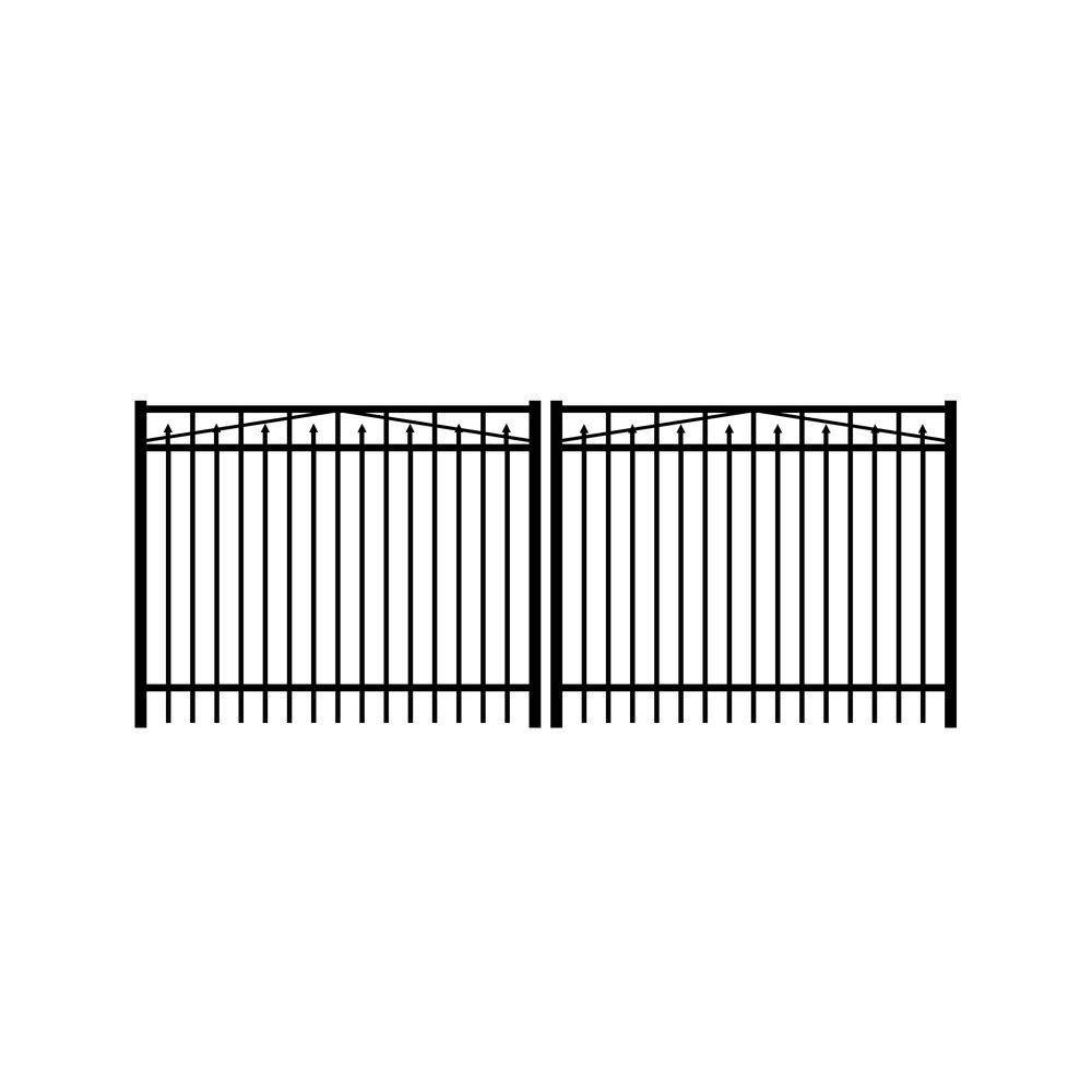Adams 12 ft. W x 5 ft. H Black Aluminum 3-Rail