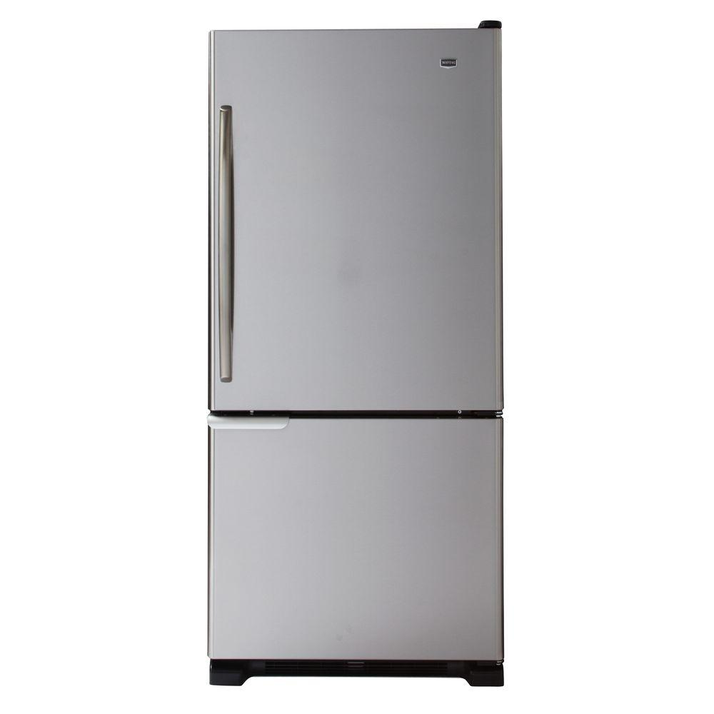 Maytag 30 in. W 18.5 cu. ft. Bottom Freezer Refrigerator in Stainless Steel-DISCONTINUED