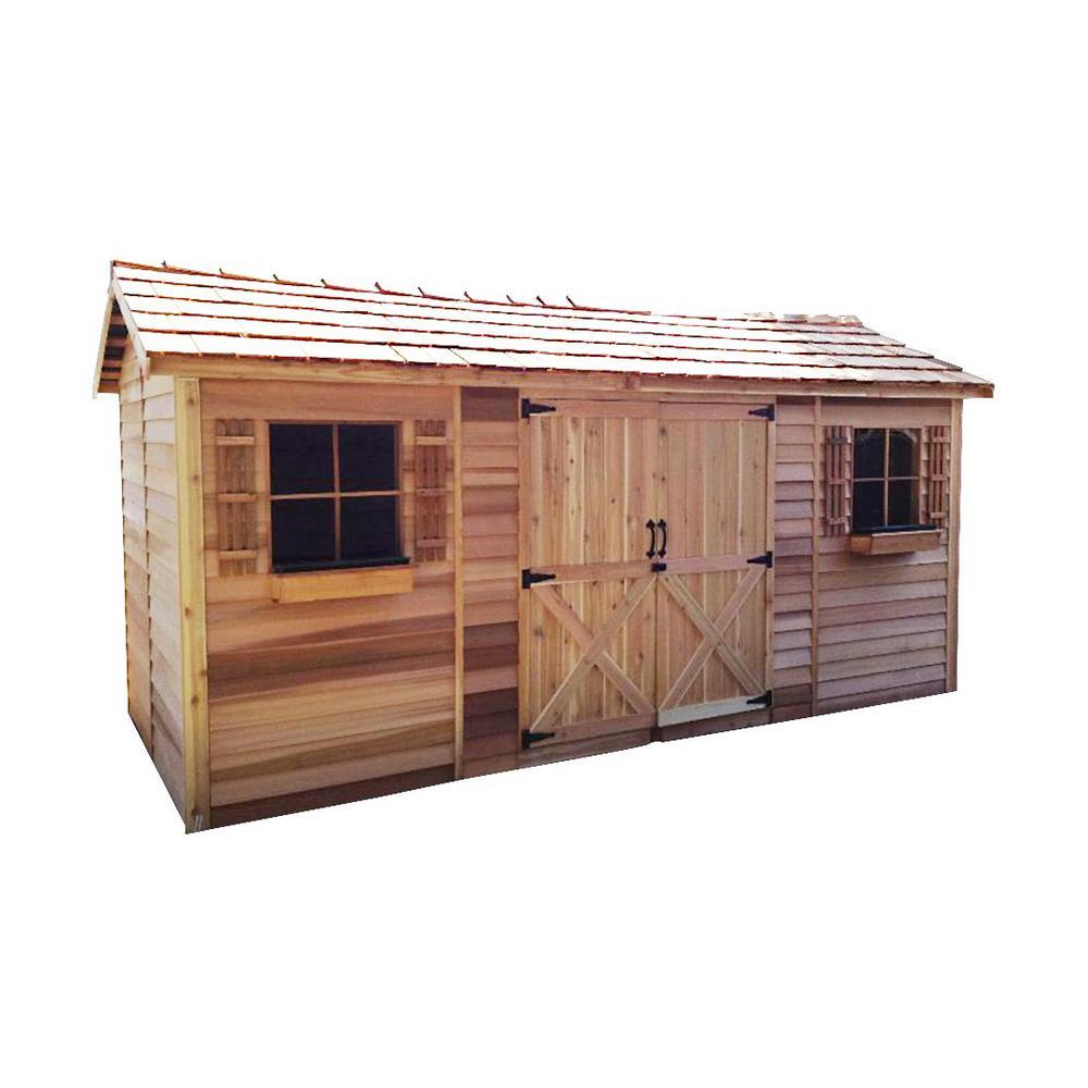 Longhouse 16 ft. x 8 ft. Western Red Cedar Garden Shed