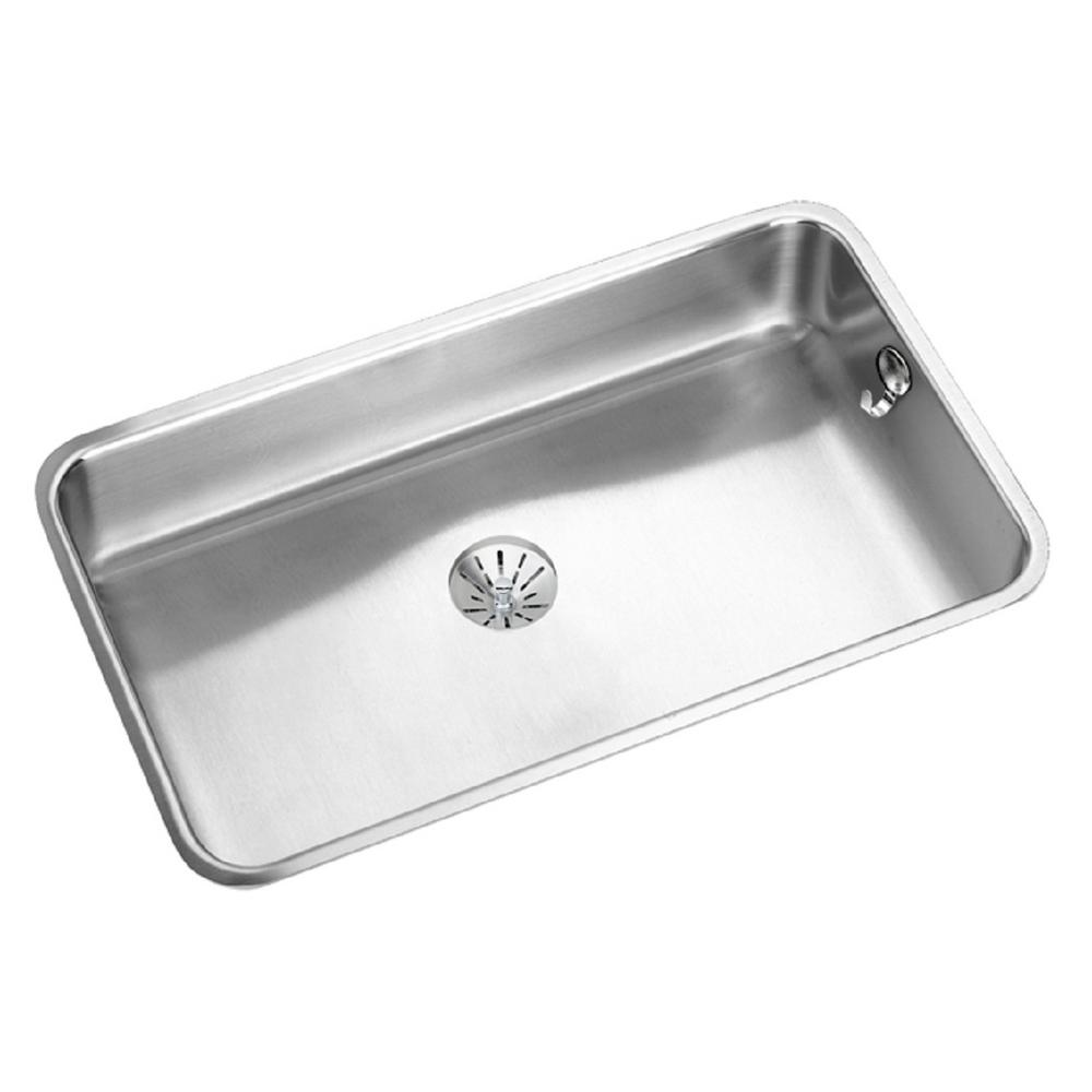elkay lustertone undermount stainless steel 31 in single bowl kitchen sink the home depot