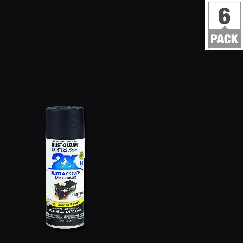 Rust-Oleum Painter's Touch 2X 12 oz. Black Semi-Gloss General Purpose Spray Paint(6-Pack)