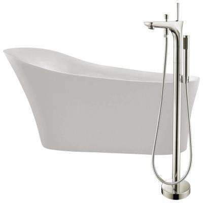 Maple 67 in. Acrylic Flatbottom Non-Whirlpool Bathtub in White with Kase Faucet in Brushed Nickel