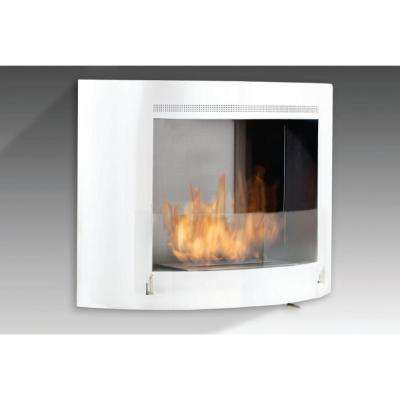 Olympia 33 in. Ethanol Wall Mounted Fireplace in Gloss White with Stainless Interior