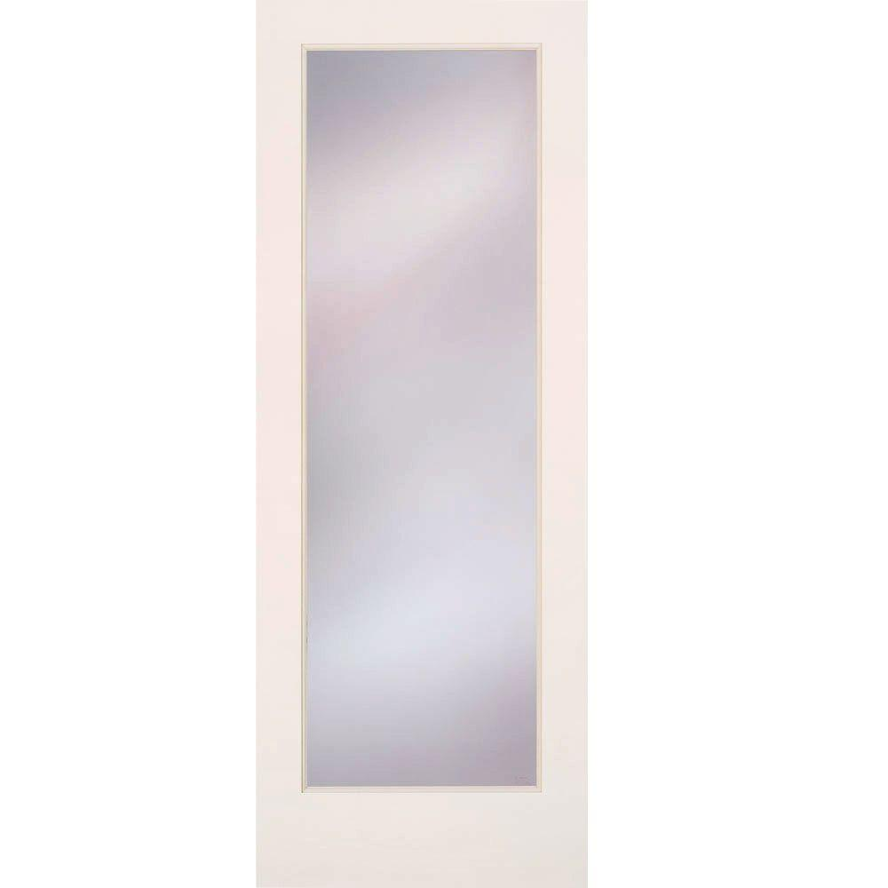 Feather River Doors 28 in. x 80 in. Privacy Smooth 1 Lite Primed MDF Interior Door Slab