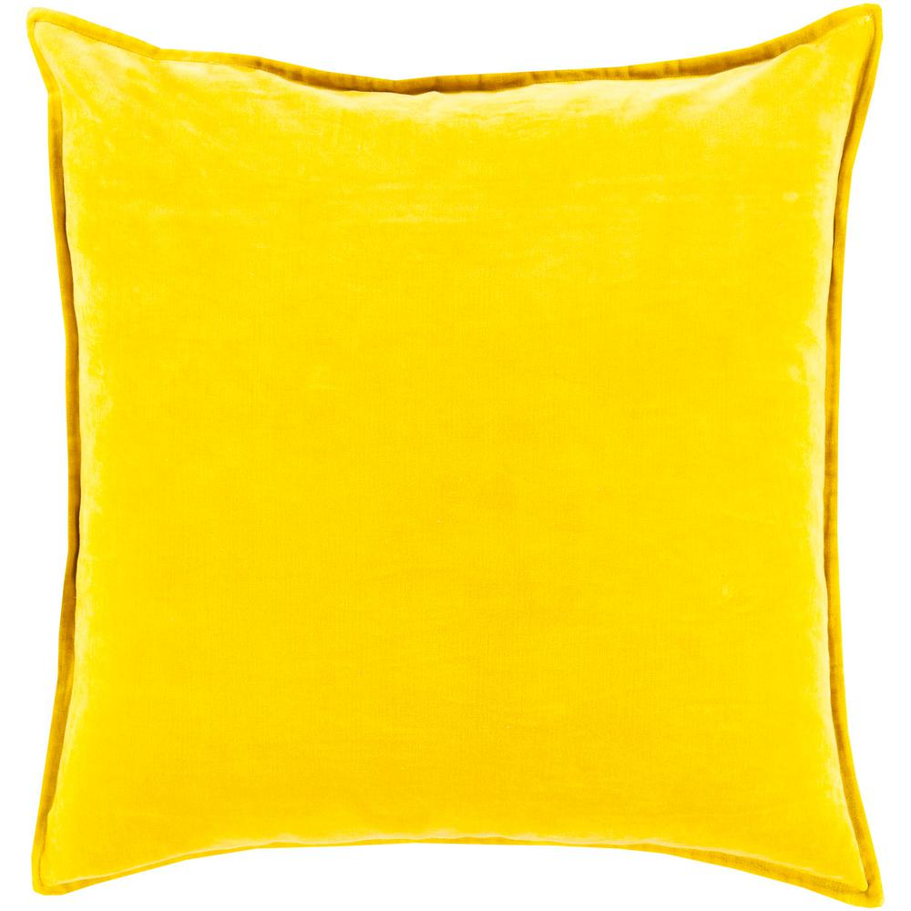 Velizh Mustard Solid Polyester 22 in. x 22 in. Throw Pillow