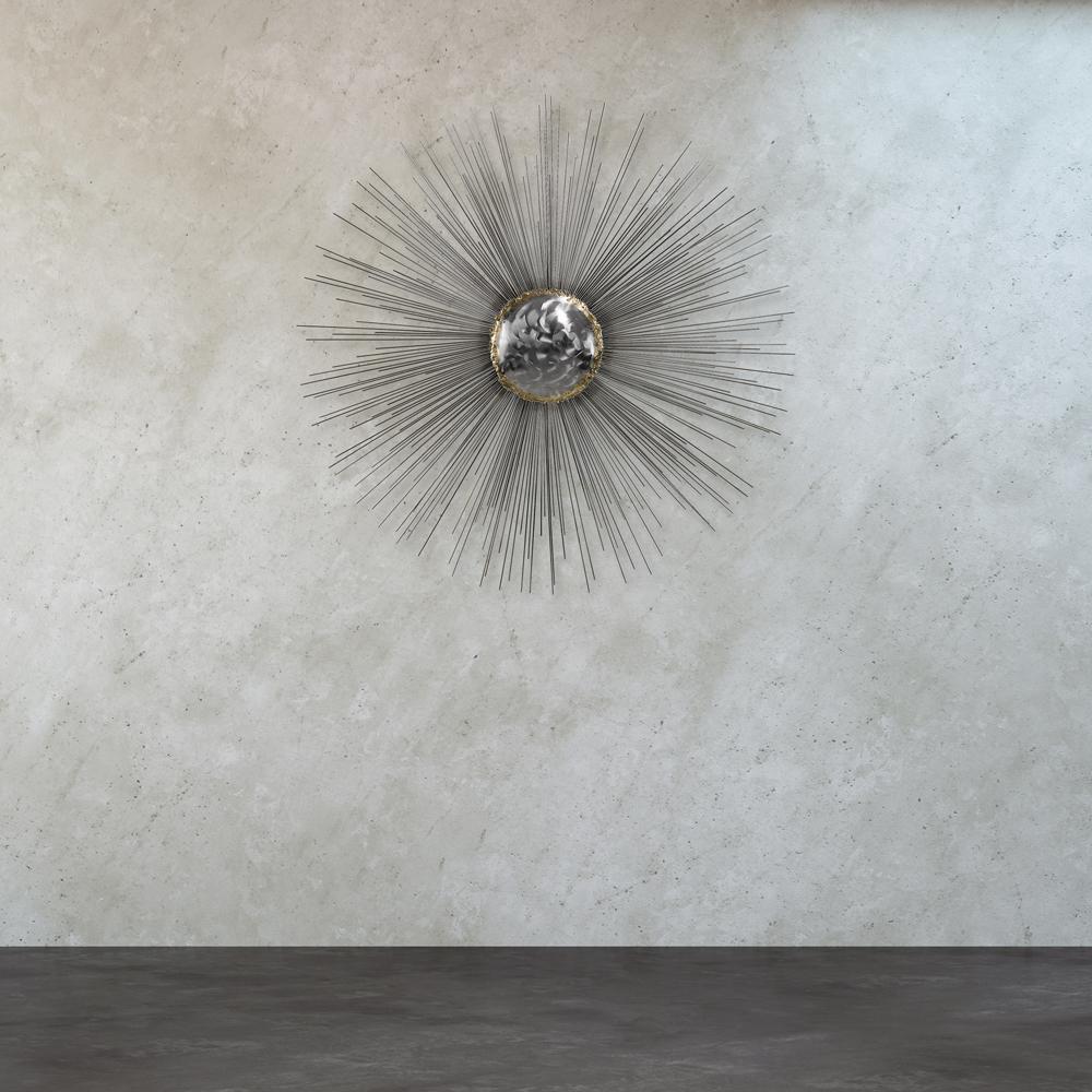 """Titan Lighting 29 in. x 46 in. """"Silver Sun"""" Metal Wall Art"""