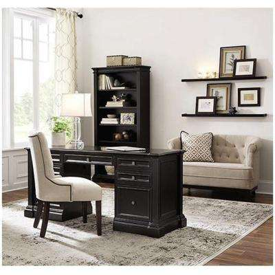Bufford Antique Black Open Bookcase