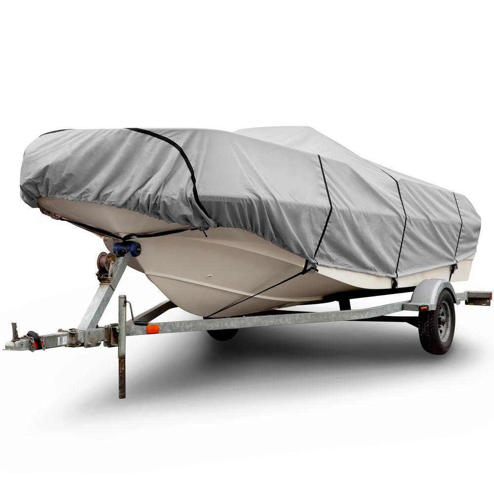 14FT TRAILERABLE BOAT STORAGE COVER WITH ELASTIC HEM NEW GRAY HEAVY DUTY 12FT