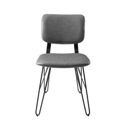 Flax Back Grey Accent Dining Chair with Black Stitching (2-Pack)