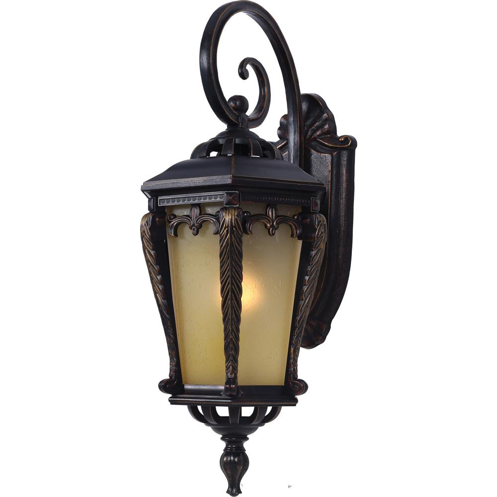 Volume Lighting 1-Light Indoor or Outdoor Golden Rust Aluminum Wall Mount Sconce with Tapered Champagne Bubble Glass