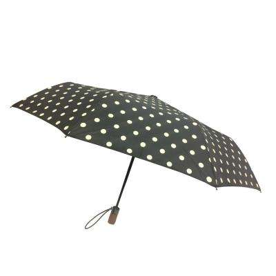 44 in. Arc Canopy 3 Sectional Telescopic Mini Auto Open Auto Close Umbrella in Dot