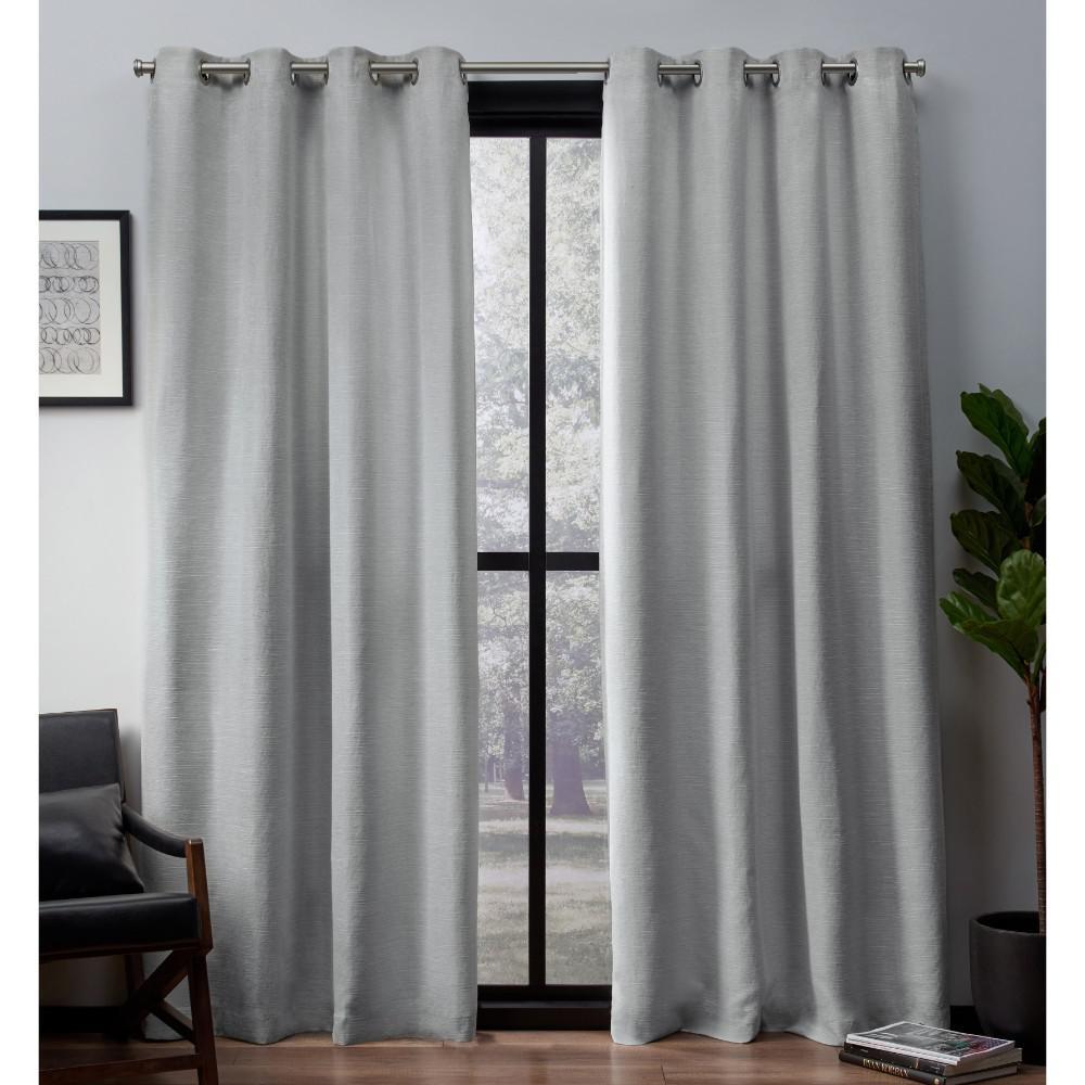 Leeds 52 in. W x 84 in. L Woven Blackout Grommet Top Curtain Panel in Dove Grey (2 Panels)