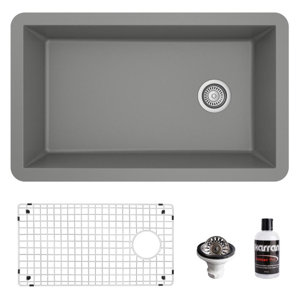 QU-670 Quartz/Granite Composite 32 in. Single Bowl Undermount Kitchen Sink with Grid and Basket Strainer in Grey