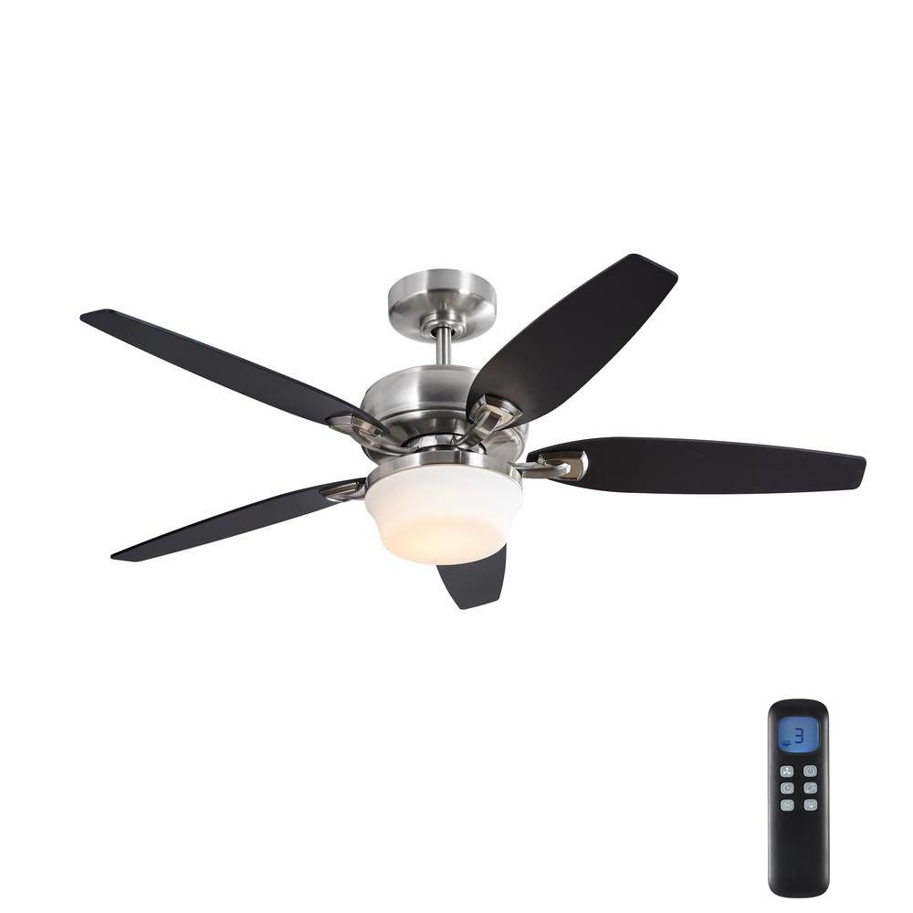 HomeDecoratorsCollection Home Decorators Collection Arrano 56 in. Integrated LED Indoor Brushed Nickel DC Ceiling Fan with Light Kit and Remote Control