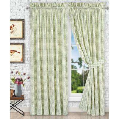 Davins Spa Cotton Twill Tailored Pair Curtains with Ties - 90 in. W x 63 in. L