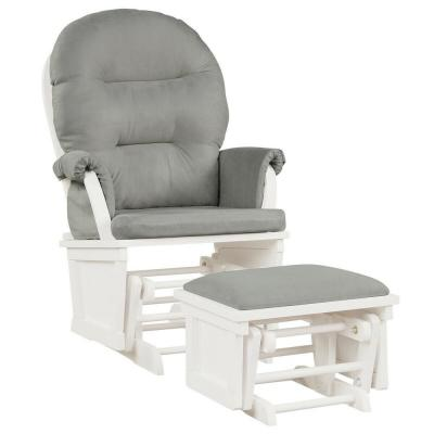 Rubber Wood Relax Rocker Rocking Chair Living Room Chair Set With Gray Cushions