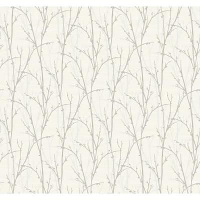 Deer Park Metallic Silver and White Branch Strippable Wallpaper
