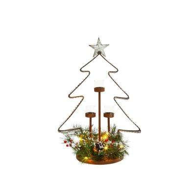 23.4 in. H Metal Tree Tealight Holder with Lighted Pine Accent Base (3 Glass Cups Included)